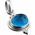 Sterling silver Blue Chalchodeny Pendant