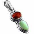 Sterling silver Mother of Pearl & Carnelian Pendant