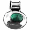 Sterling silver Green Onyx (7x10mm) Pendant