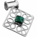 Sterling silver Malachite (15x20mm) Pendant