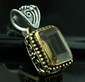 Sterling silver SB - Lemon Quartz (30ctw) Pendants_SilverBrass