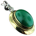 Sterling silver SB - Malachite (15x20mm) Pendants_SilverBrass