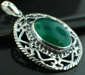 Sterling silver Silver Plated - Green Onyx  (15x20mm) Pendants_SilverPlated