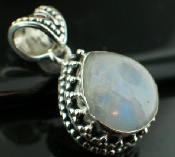 Sterling silver SP - Rainbow Moonstone (20mm) Pendants_SilverPlated