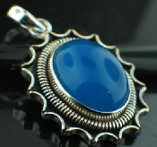 Sterling silver SP - Blue Chalchodeny (15x20mm) Pendants_SilverPlated