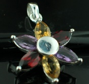 Sterling silver SP - Amethyst & Garnet & Citrine (30ctw) Pendants_SilverPlated