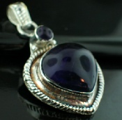 Sterling silver Amethyst (20mm) Pendants_SilverPlated