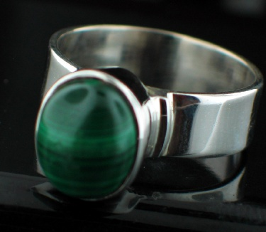Sterling silver Malachite (8x12mm) ring
