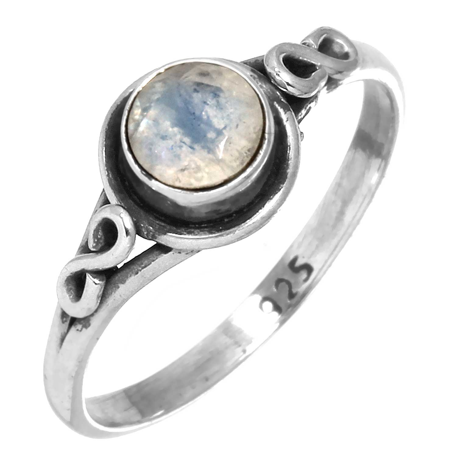 Sterling silver Rainbow Moonstone  (6mm) Ring