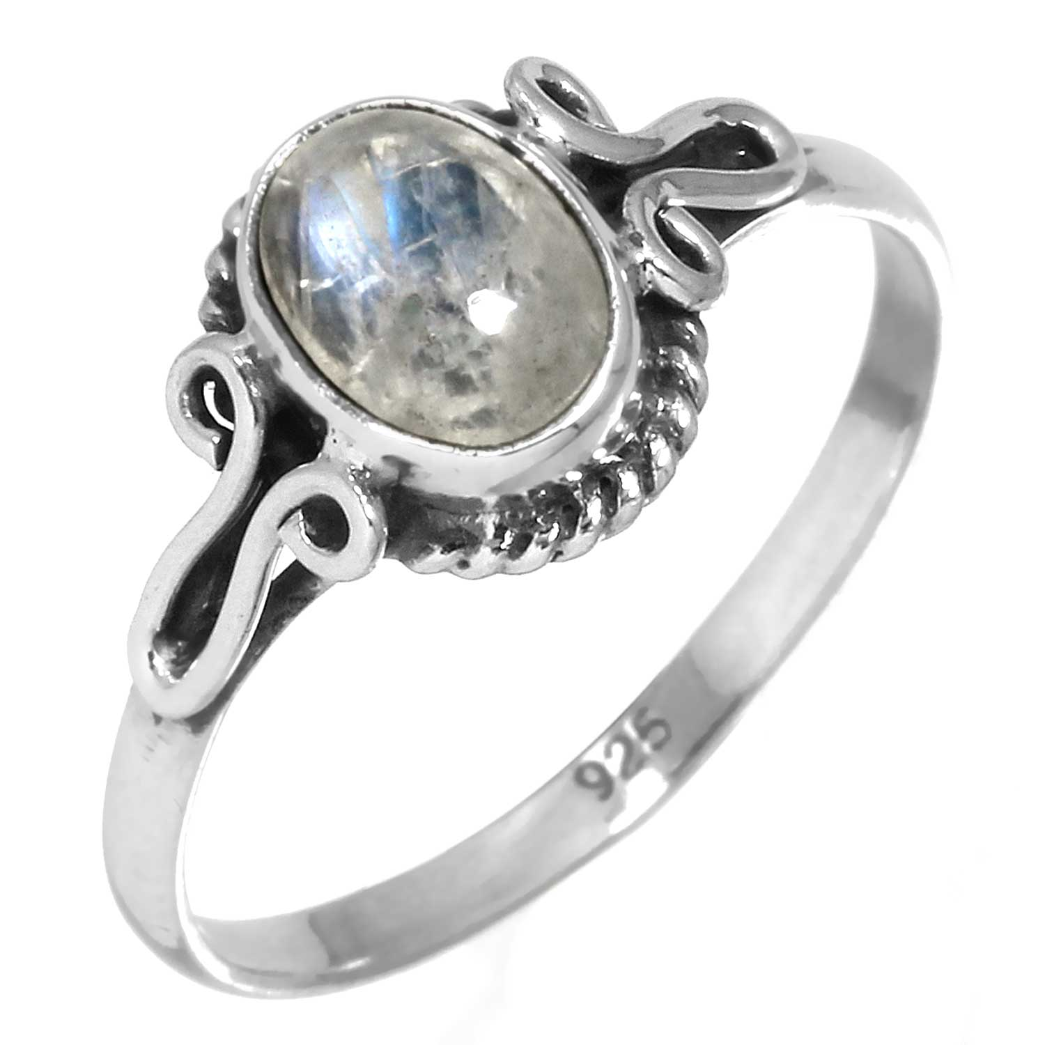 Sterling silver Rainbow Moonstone (9x12mm) Ring