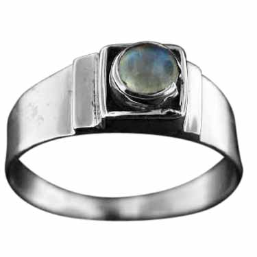 Sterling silver Rainbow Moonstone (x9mm) Ring