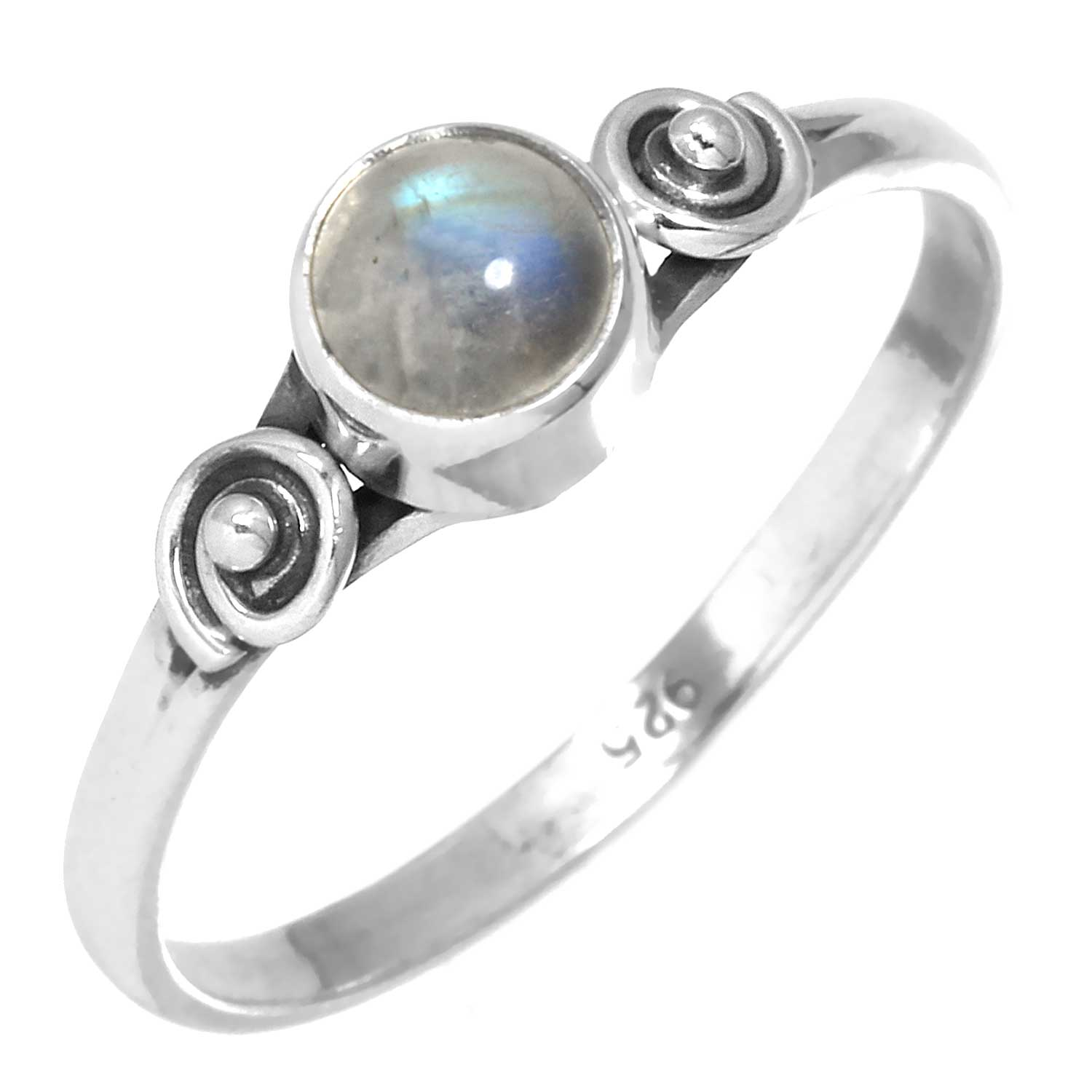 Sterling silver Rainbow Moonstoe (6mm) Ring