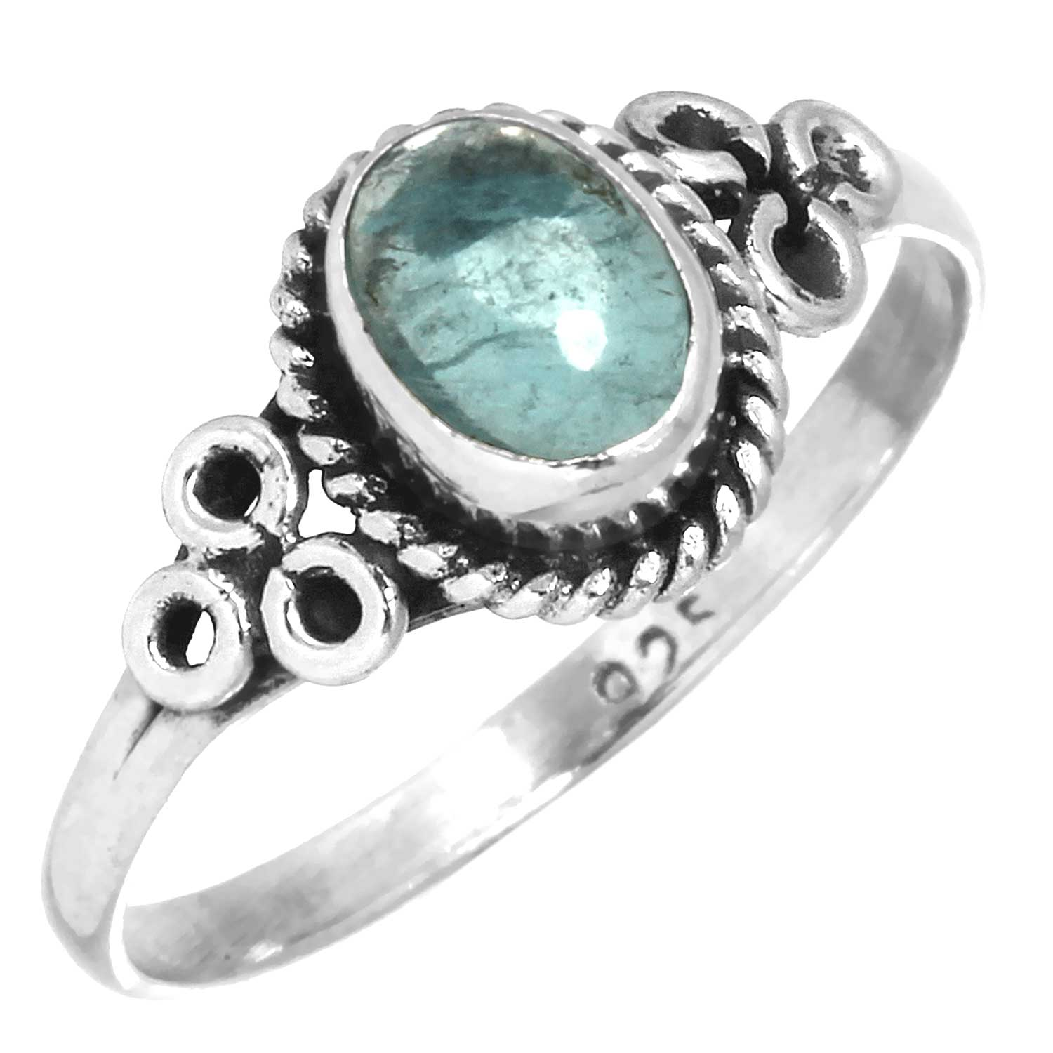 Sterling silver Flourite (5x8mm) Ring