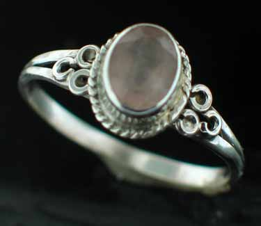 Sterling silver Rainbow Moonstone (6x8mm) Ring