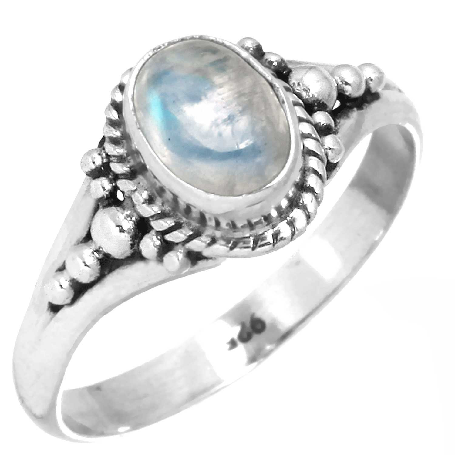 Sterling silver Rainbow Moonstone (5x8mm) Ring