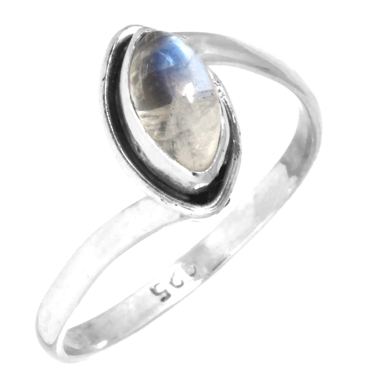 Sterling silver Rainbow Moonstone (5x9mm) Ring