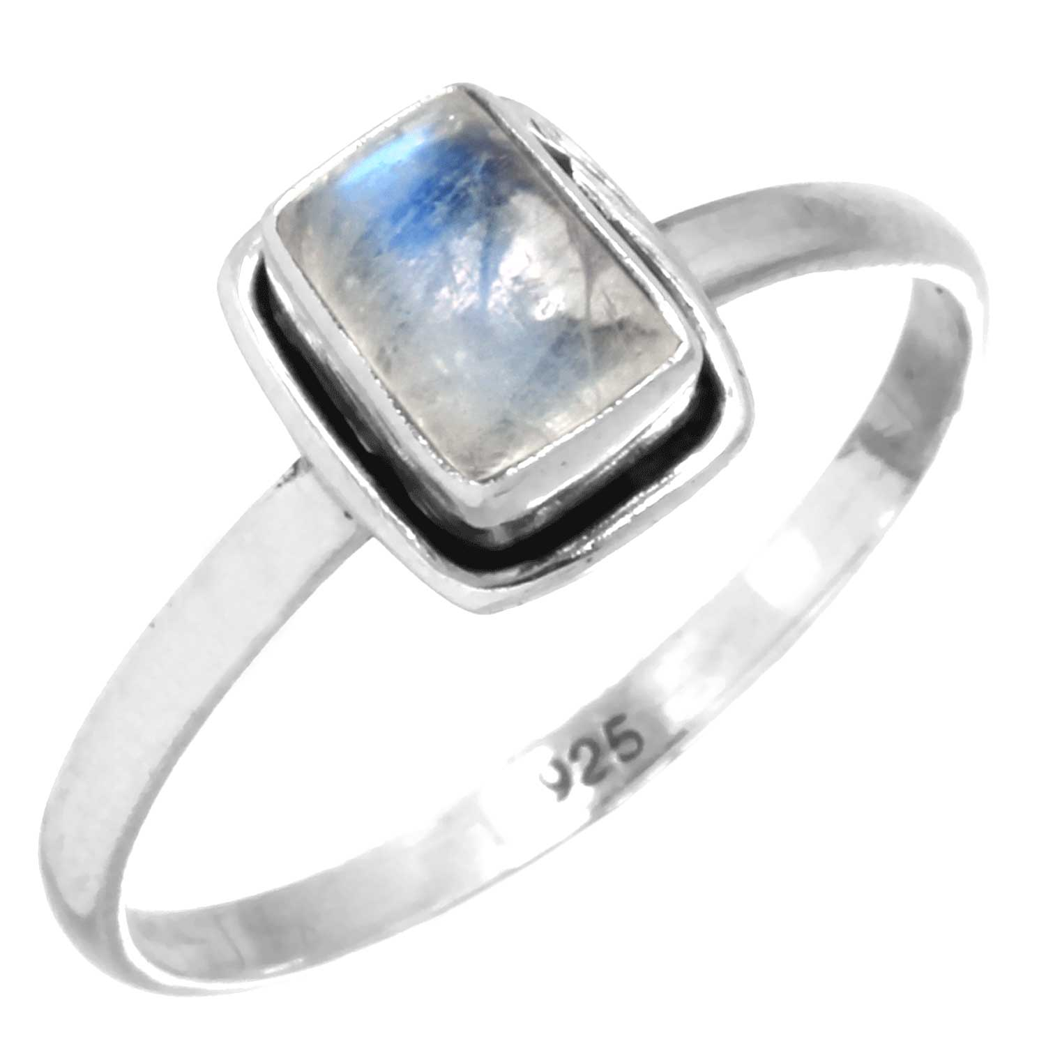 Sterling silver Rainbow Moonstone (5x7mm) Ring