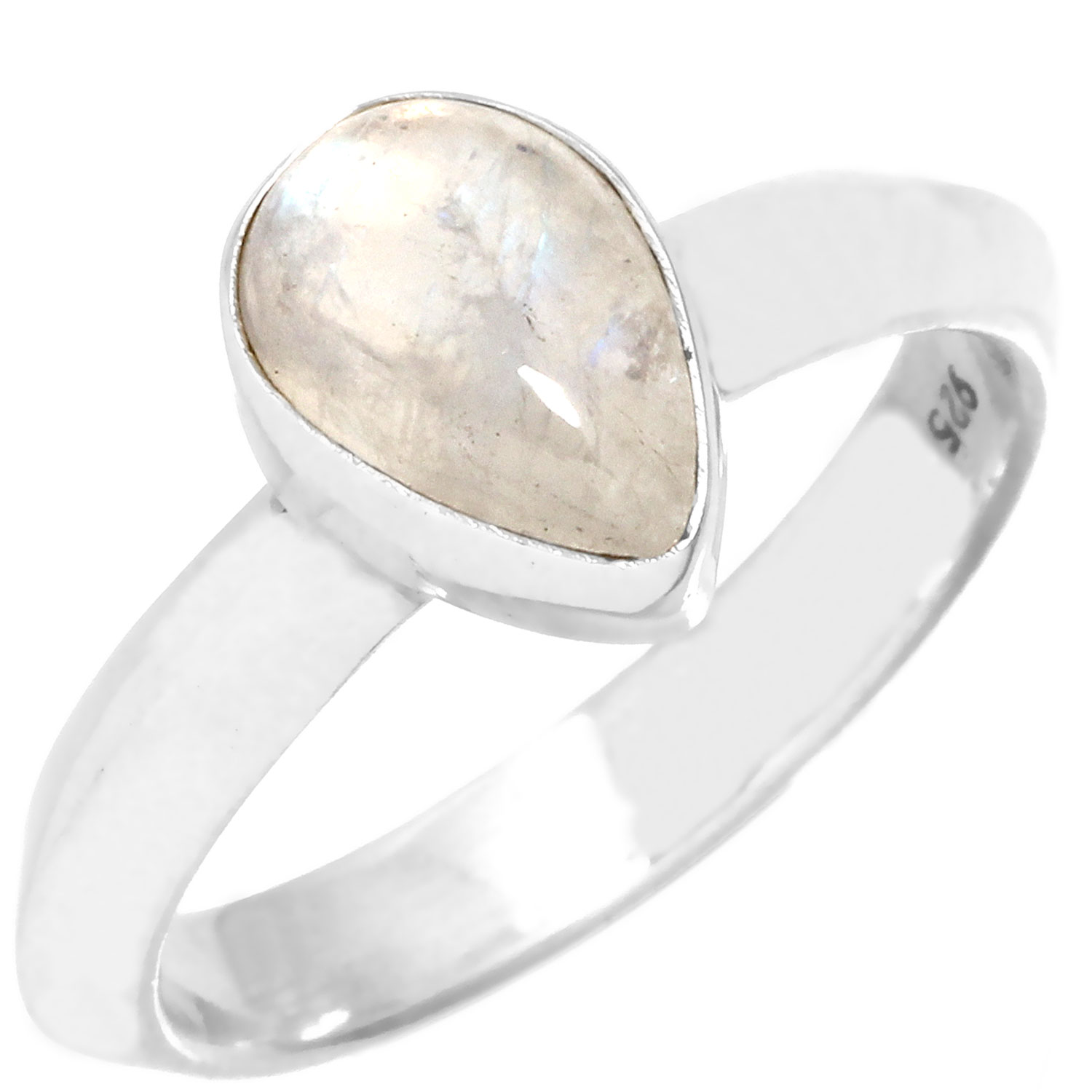 Sterling silver Rainbow Moonstone (10x12mm) Ring
