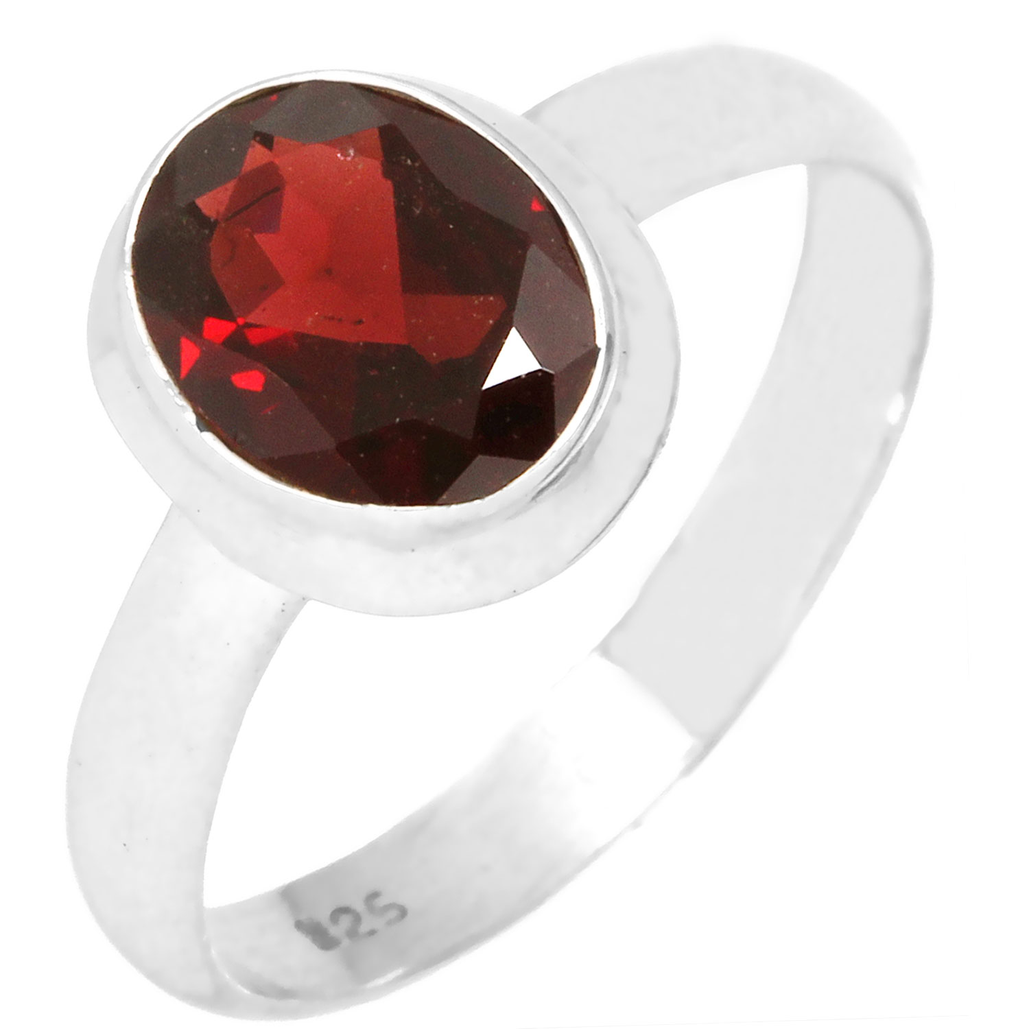 Sterling silver Garnet (3ctw) Ring