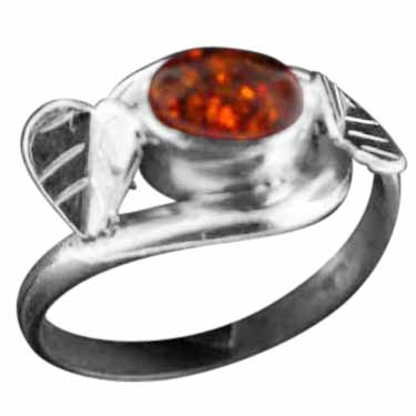 Sterling silver PeridAmber (5x8mm) ring