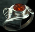 Sterling silver Amber (5x9mm) Ring