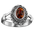 Sterling silver Amber (5x7mm) Ring