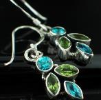 Blue Topaz (2ctw) & Peridot (2ctw) Stunning! Wholesale Silver